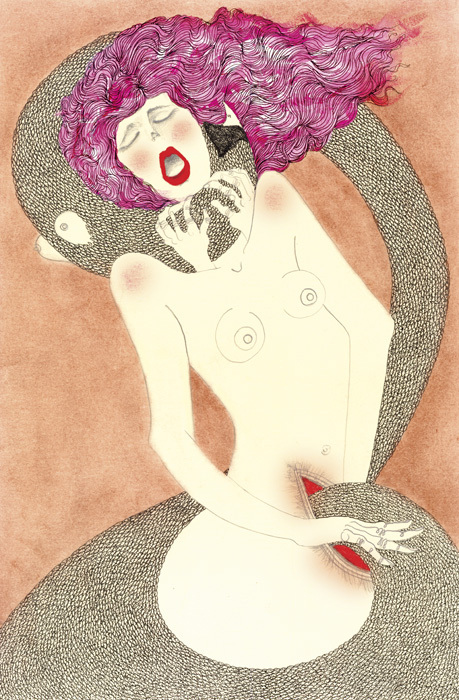 Lust  ; From the Series of The Seven Deadly Sins Tarot Cards.   Acrylic, tea, ink and graphite 2012  SOLD