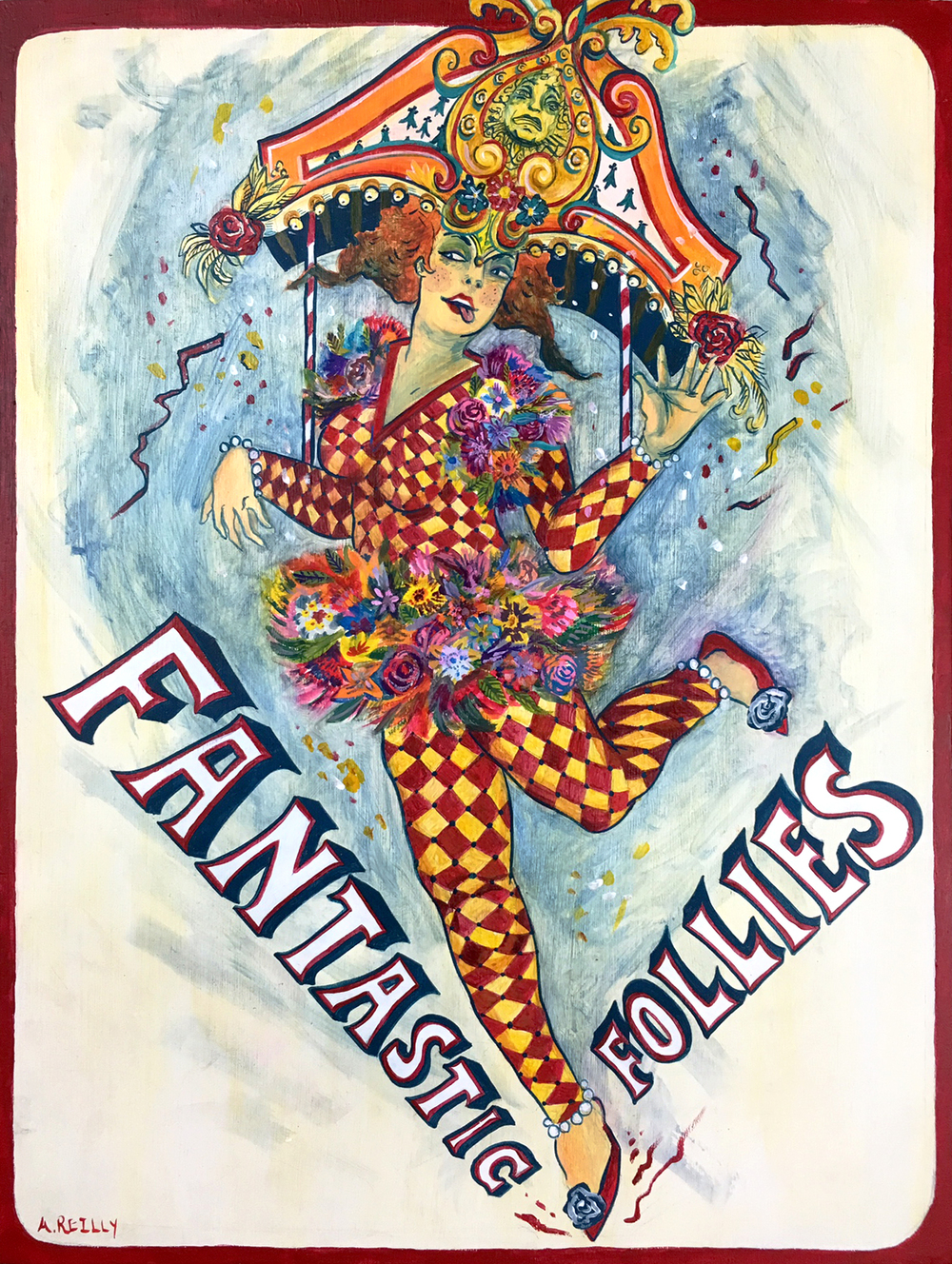 Fantastic Follies.  (Costume Design). Ink and acrylic on wood. 2015