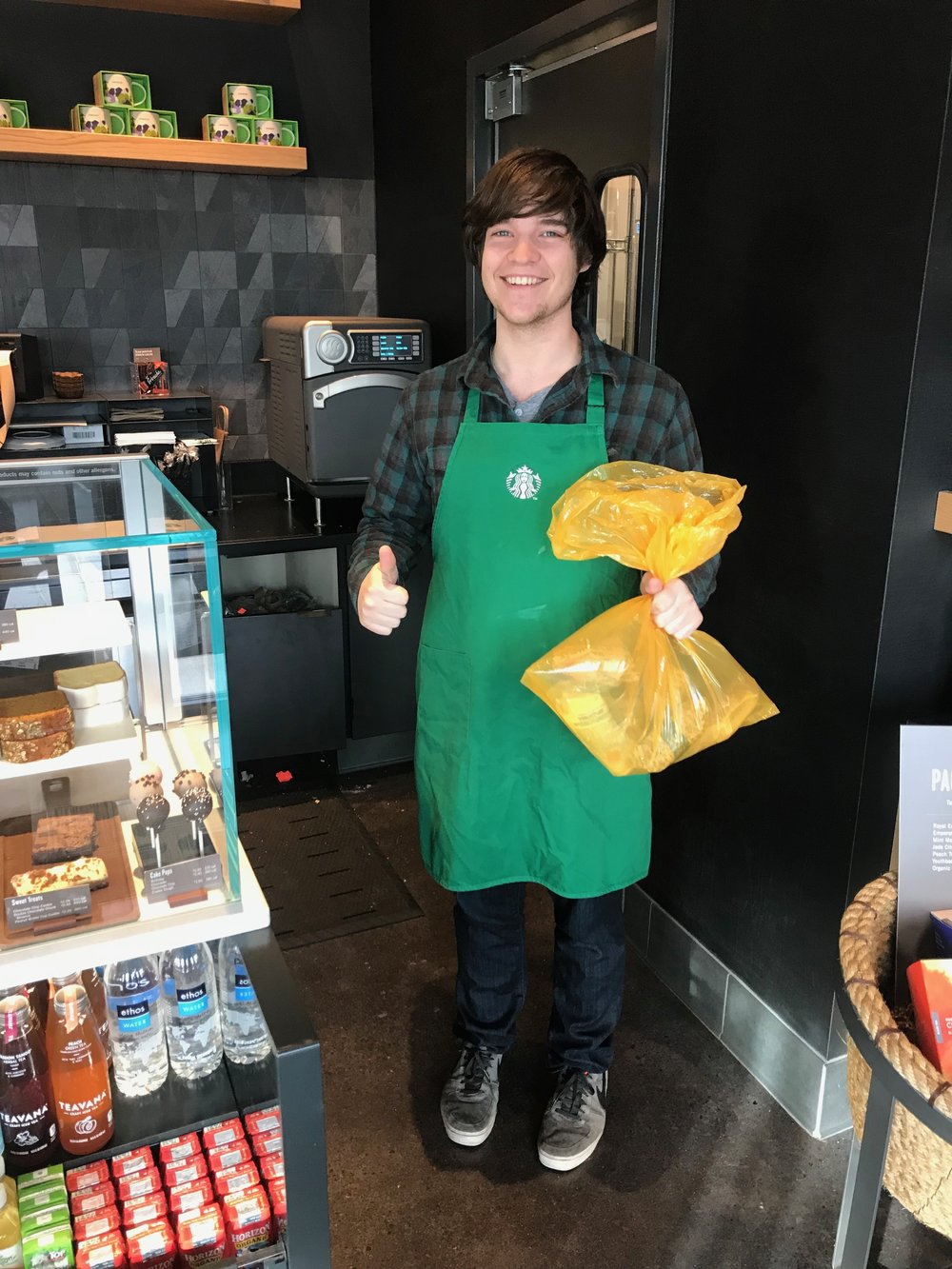 Our friends at Starbucks are always happy to hand off their donated food three times a week