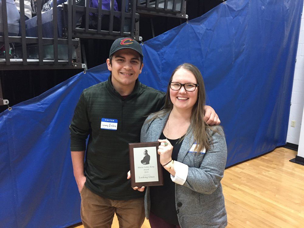 Looking Glass staff members Sammy Elsdon and Amanda Hampton proudly display the MLK award presented to them by Cottage Grove High School on Monday, February 5th, 2018.