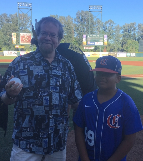 CEO Craig Opperman, left, and Xander Mafoti, prepare for the first pitch!