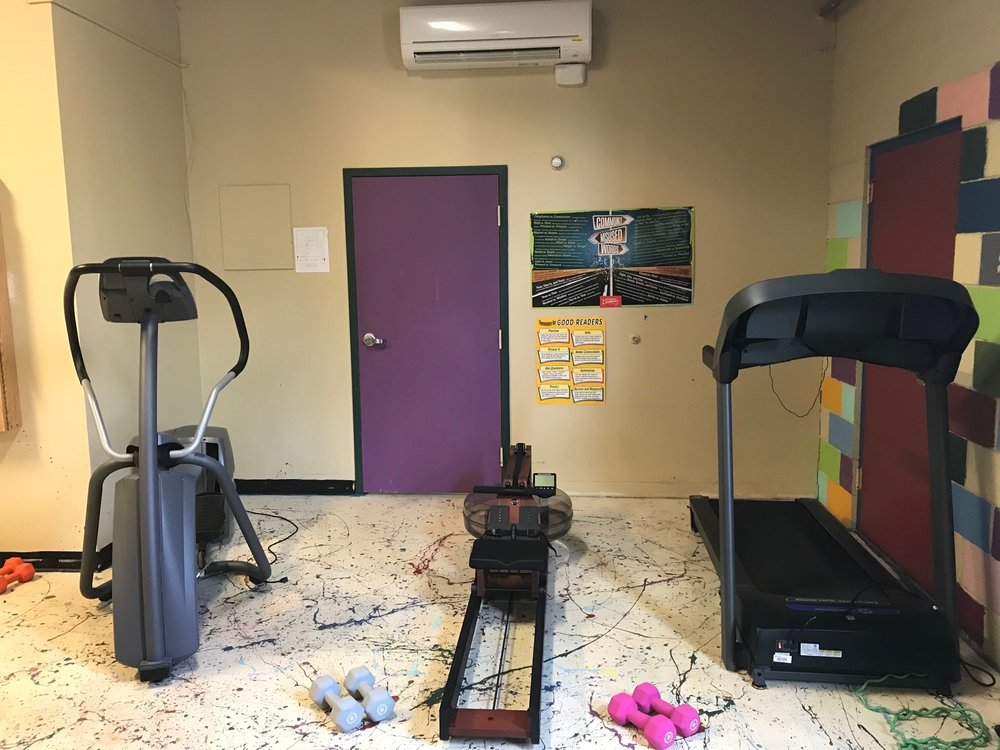 Recently purchased workout equipment now housed at the Pathway Girls Program includes an elliptical machine, rowing machine and a treadmill.