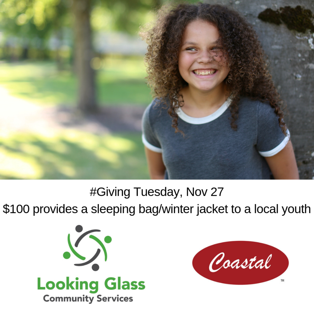 This image is one of several promotions running on our social media channels in efforts to motivate #GivingTuesday donors to support our winter clothing/item drive with these funds.