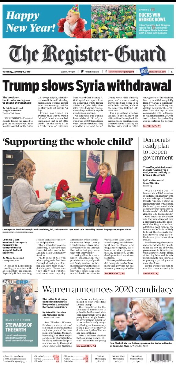 Looking Glass article made front page news in The Register-Guard on Tuesday, January 1, 2019.