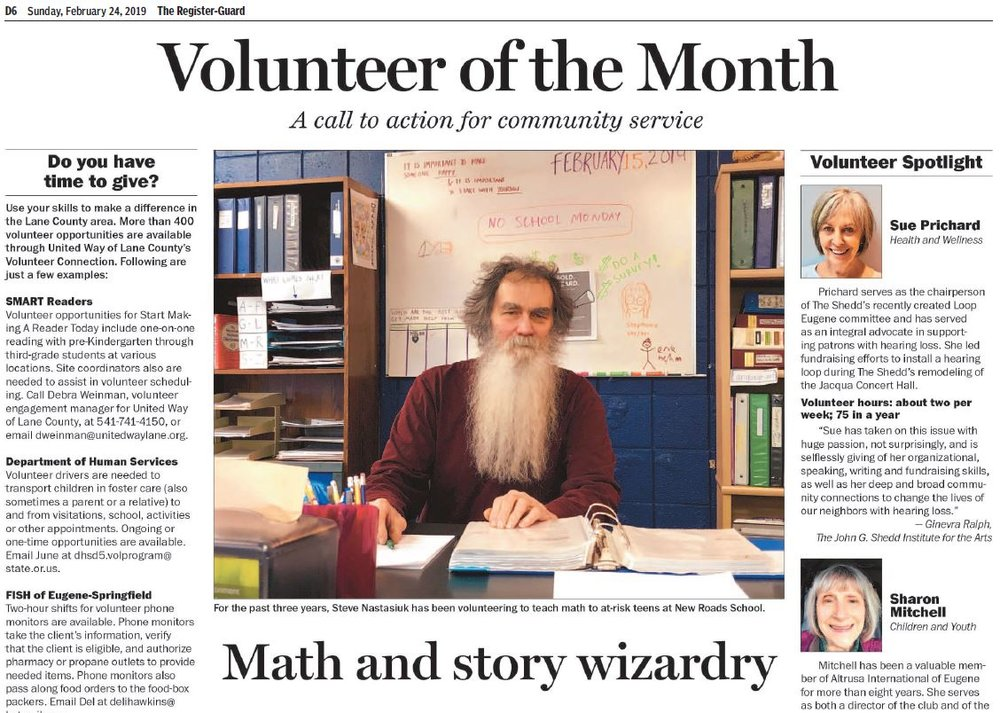 Looking Glass volunteer New Roads School teacher Steve Nastasiuk was featured prominently in The Register-Guard on Sunday, February 24th.