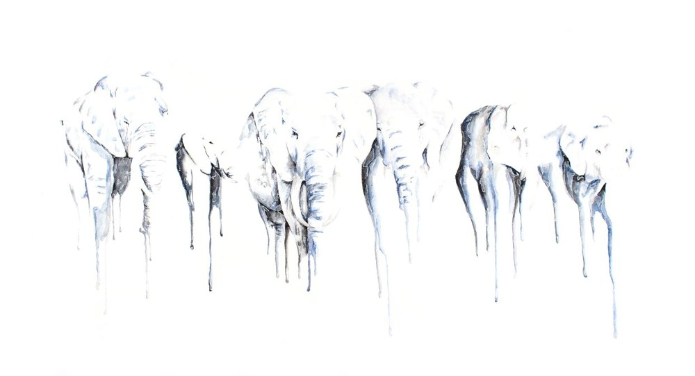 Dark Giants artwork art brad wilson artist watercolor ink splatter abstract colorful painting bradley wilson studios elephant blue black herd .jpg