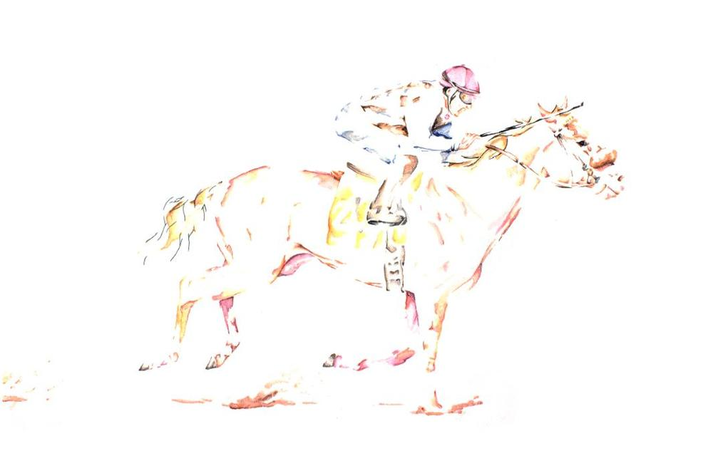 It's My Lucky Day artwork art brad wilson artist watercolor ink splatter abstract colorful painting bradley wilson studios horse racing kentucky derby .jpg