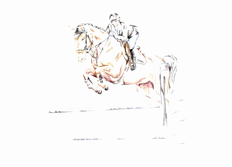 Monica and Gino artwork art brad wilson artist watercolor ink splatter abstract colorful painting bradley wilson studios equestrian horse jumping .jpg