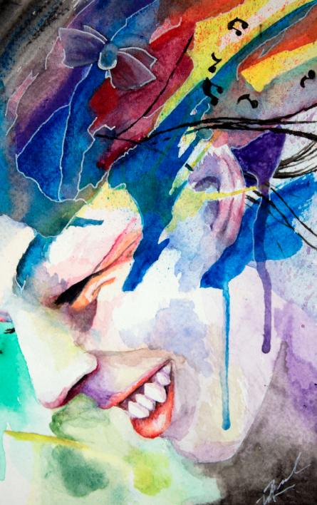 Music to my Ears artwork art brad wilson artist watercolor ink splatter abstract colorful painting bradley wilson studios portrait happy smile.jpg
