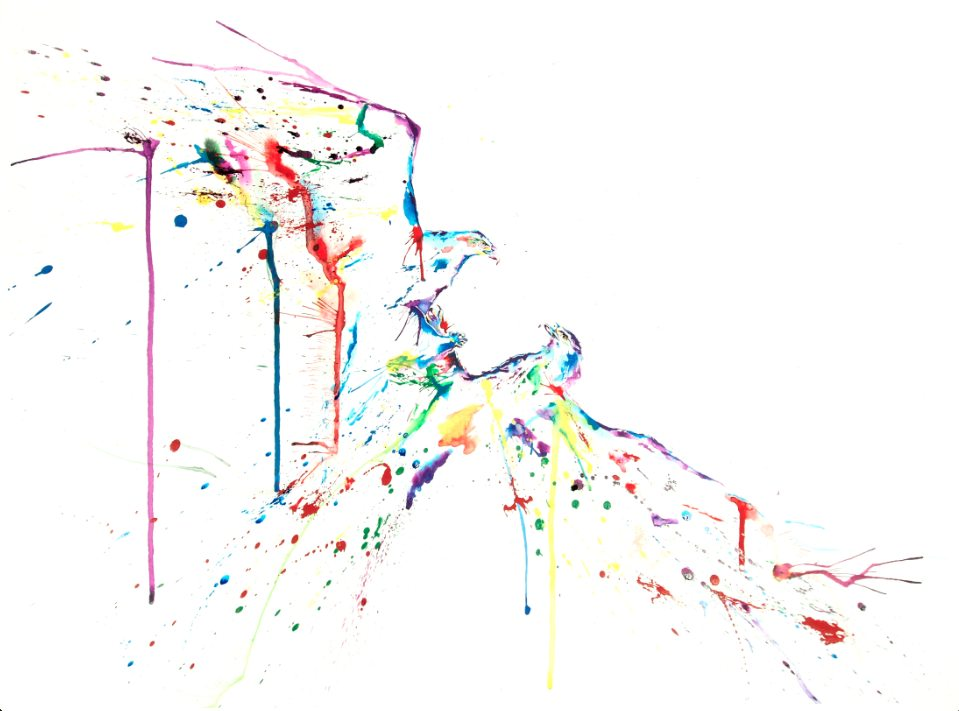 Eagles artwork art brad wilson artist watercolor ink splatter abstract colorful painting bradley wilson studios fighting animals.jpg