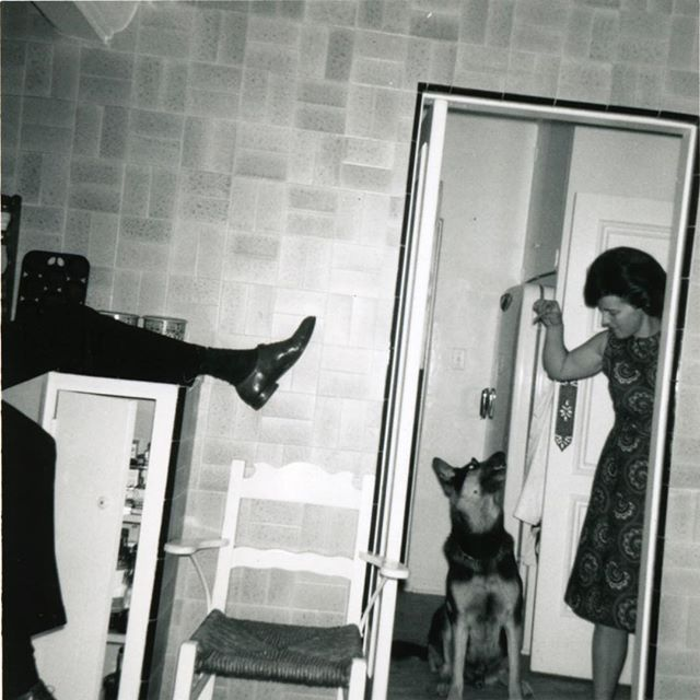 My mom in the kitchen with our dog Blackie and my dad making a guest appearance left frame. Happy Mother's Day mom wherever you are! Photograph by Mark Wexler with his first camera— the Kodak Brownie  #mothersday #kodakbrownie #photograpghy#instagood #kitchen