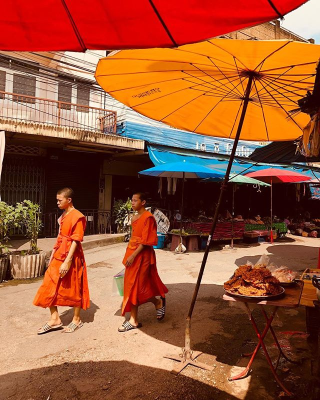Monks at market. — Chiangmai, Thailand. #chiangmai #thailand #monks #umbrella #travelphotography #instagood #photography
