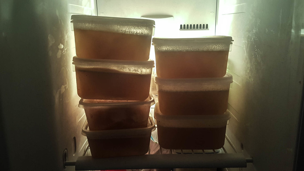 It tastes better than it looks :) Bone broth in containers ready to be heated up in the morning.