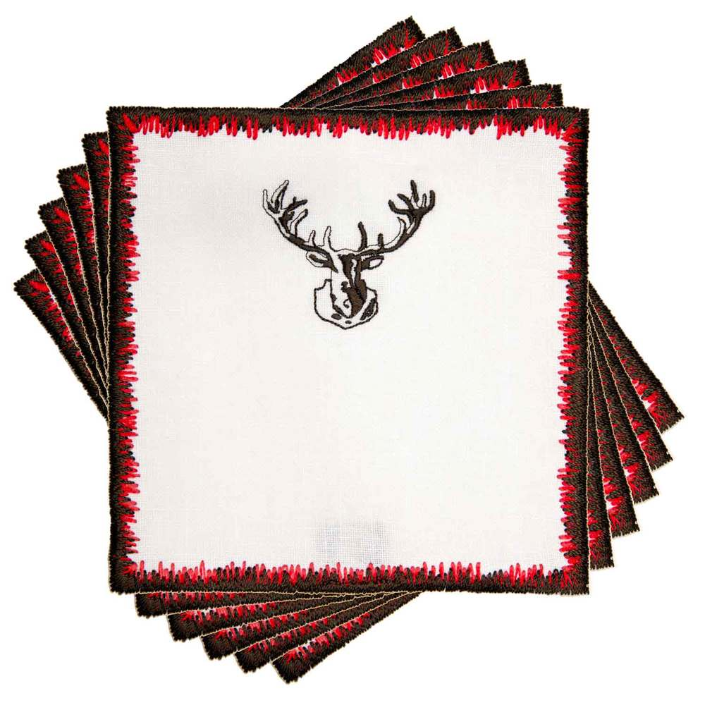 Bosco Stag Linen Cocktail Napkins