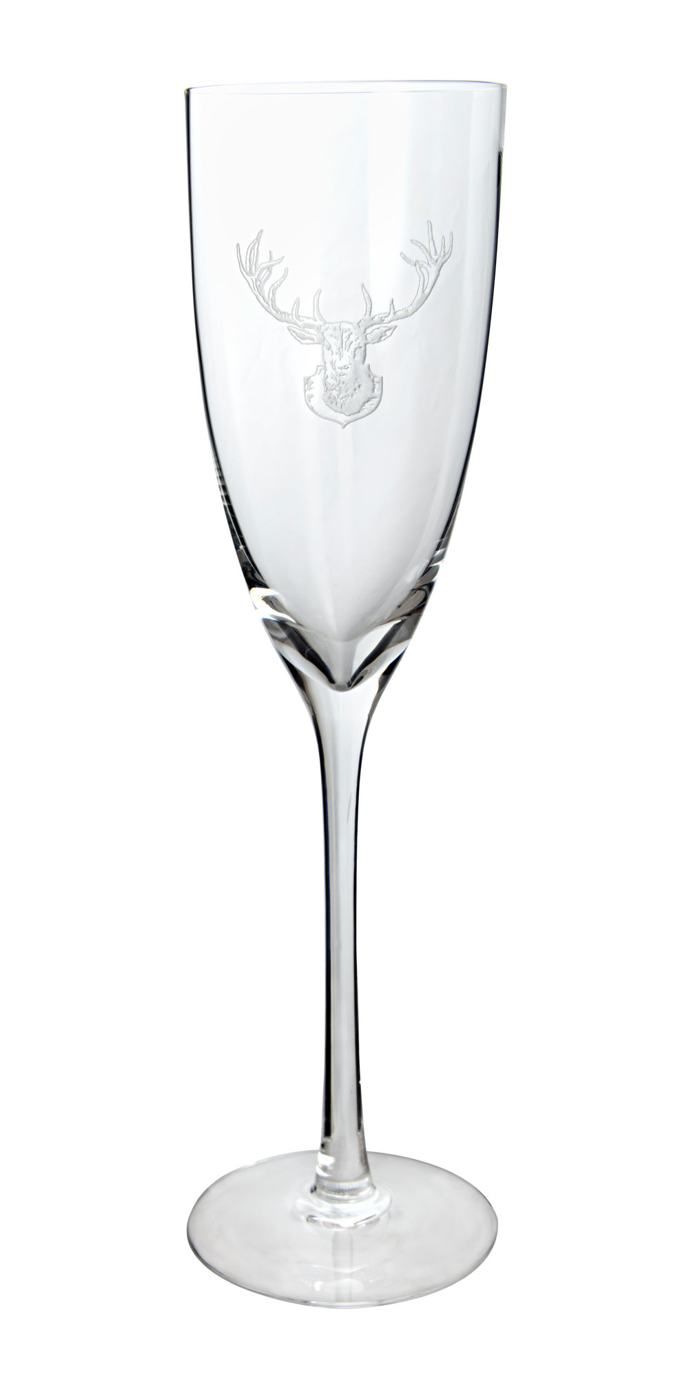 Hand-Etched Crystal Stag Champagne Flute