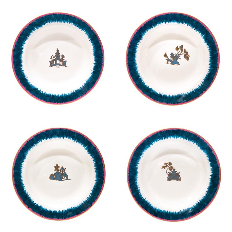 Fiamma Pagoda Porcelain Soup Bowls