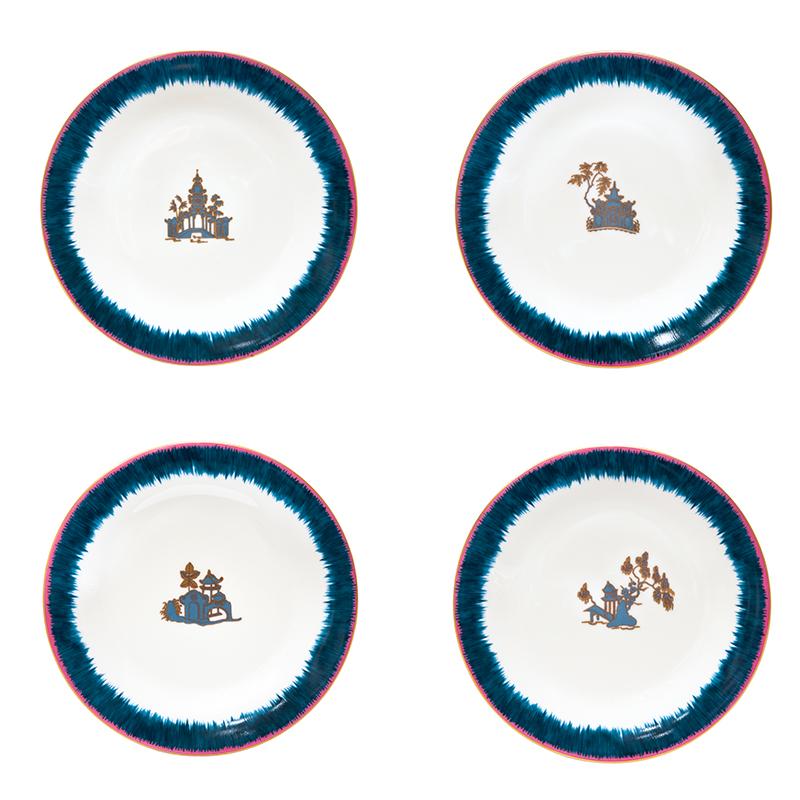 Fiamma Pagoda Porcelain Dessert Plates
