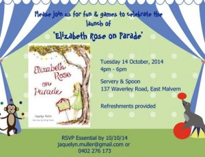 'Elizabeth Rose on Parade' launch party invitation