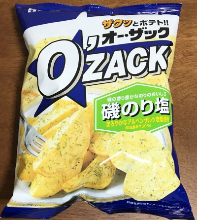 """ザクッとポテト オーザック 磯のり塩 - Crunchy Potato O'Zack Nori Salt Chips - ¥108 I really enjoy the texture of O'Zack brand chips. The name is a pun on the Japanese onomatopoeia word """"zakuzaku"""" which refers to the crunchy texture. Tanoshii Japanese explains zakuzaku as """"lots of coins or jewels"""", """"cutting up roughly"""", """"walking on frost"""", """"mixing gravel"""". Are you starting to feel the crunch? It sounds brutal, but it's pretty awesome. I know they're not cut potatoes because the bag only has chips of three shapes and sizes, so it might be a process similar to a Pringle that starts with a slurry or mash, but with a more irregular and bubbled, pocketed result like a crispy fried tortilla. The nori (seaweed) is pretty subtle. They don't taste fishy."""