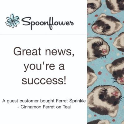 Spoonflower Great news you're a success ferret fabric.png