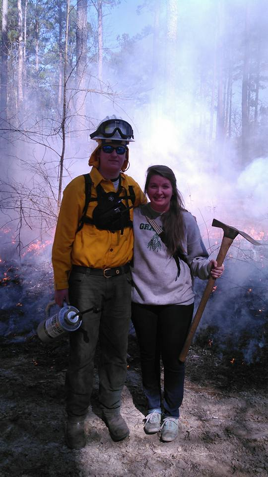 Sarah and winston on the controlled burn