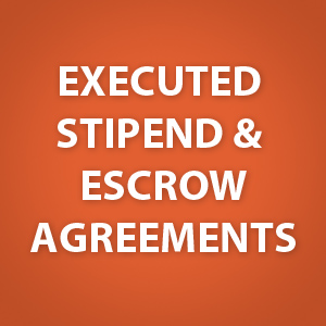 Executed Stipend and Escrow Agreements [zip - 757 KB] - posted 2/19/16