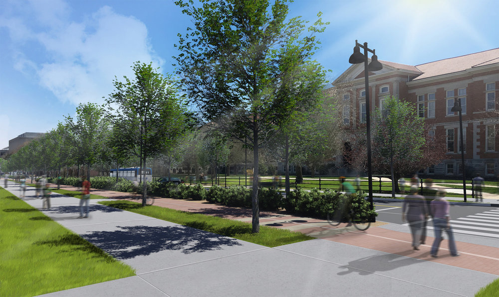 Conceptual rendering of State Street facing southeast towards the David C. Pfendler Hall of Agriculture building near the intersection of State Street and South University Street. [click photo to enlarge]