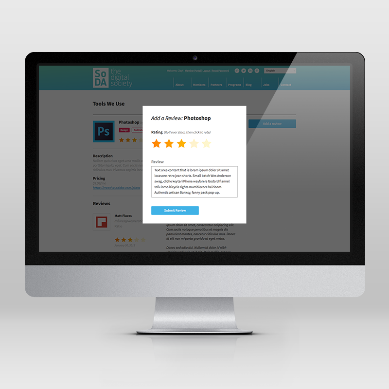 Users can add reviews to existing tools with a simple overlay.