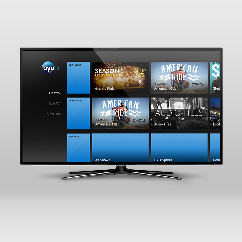In addition to the iOS app, I also designed the interface for the Amazon FireTV app. Their design guidelines outline a much different user experience, so the navigation was placed on-screen, but the same content groupings are presented in lists.