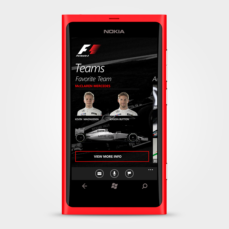 Users could set favorite teams, to view their racers, car, and other information about it.