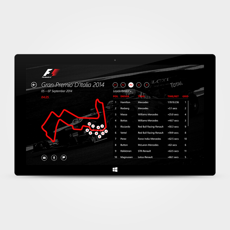 In addition to a phone app, I also imagined how the experience would translate to a tablet. We could show a lot more live race-data and pivot between different phases of the race.