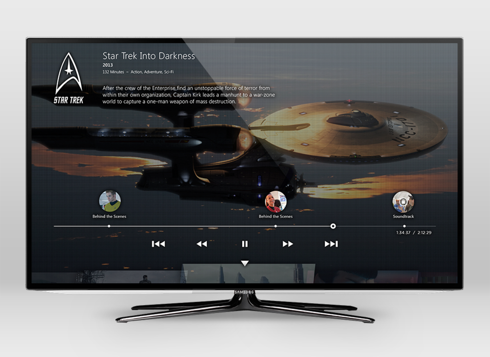 Once a user selects a film, they can bring up the player controls to view metadata, as well as see points within the movie where they can unlock bonus content.