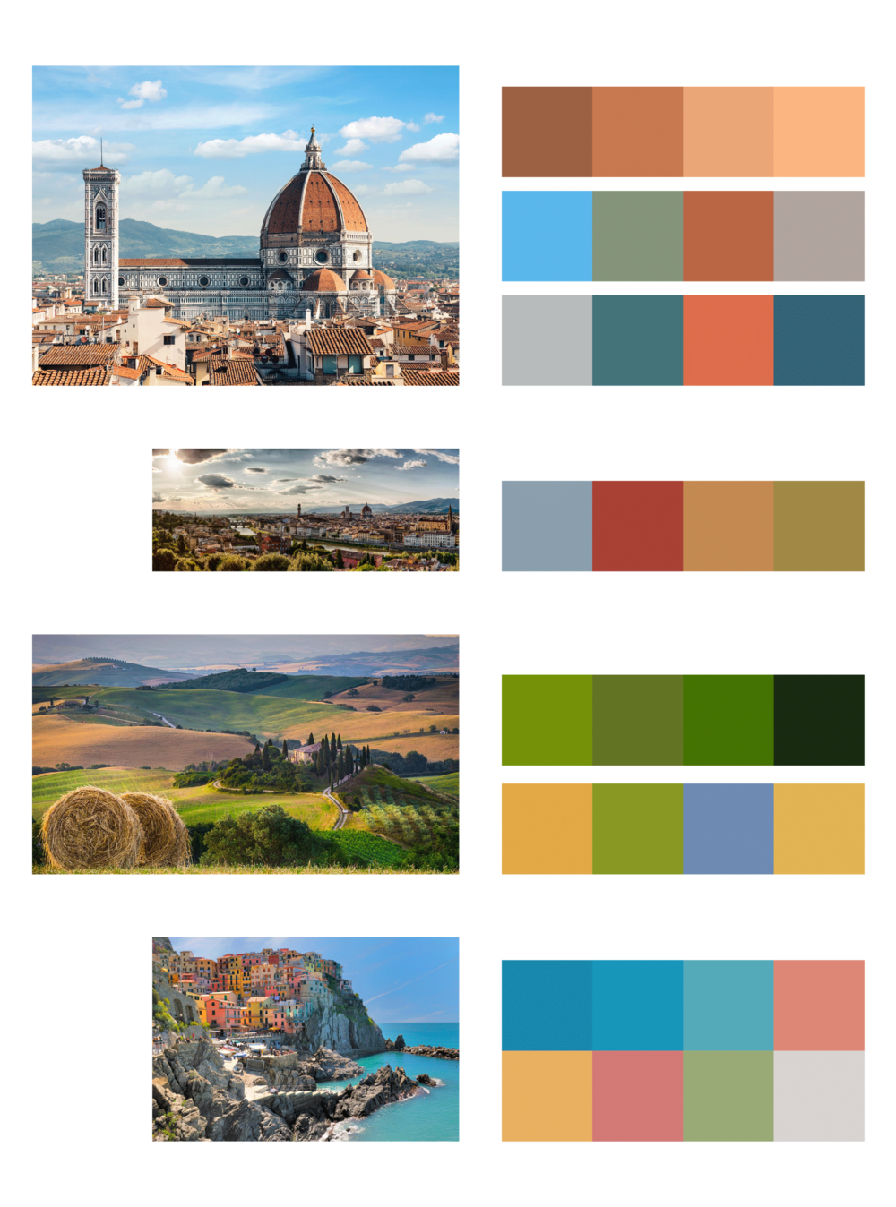 Color - Color can be the bane of my existence, but I took a deep breath and searched for some inspiration. Because David resides in Florence, Italy, I thought I would find a few pictures of Florence and pull color from the photographs.To the left you can see the photos I chose and what color schemes I came up with. This was a very convenient way of finding color schemes without having to go to Adobe Color and find something generic or overused. Keeping a color rule in mind, and using the eye dropper tool, this process was a breeze.We ended up choosing the lower scheme of the top photo, using the orange color for the outline, and the darker blue/green color for the shading.