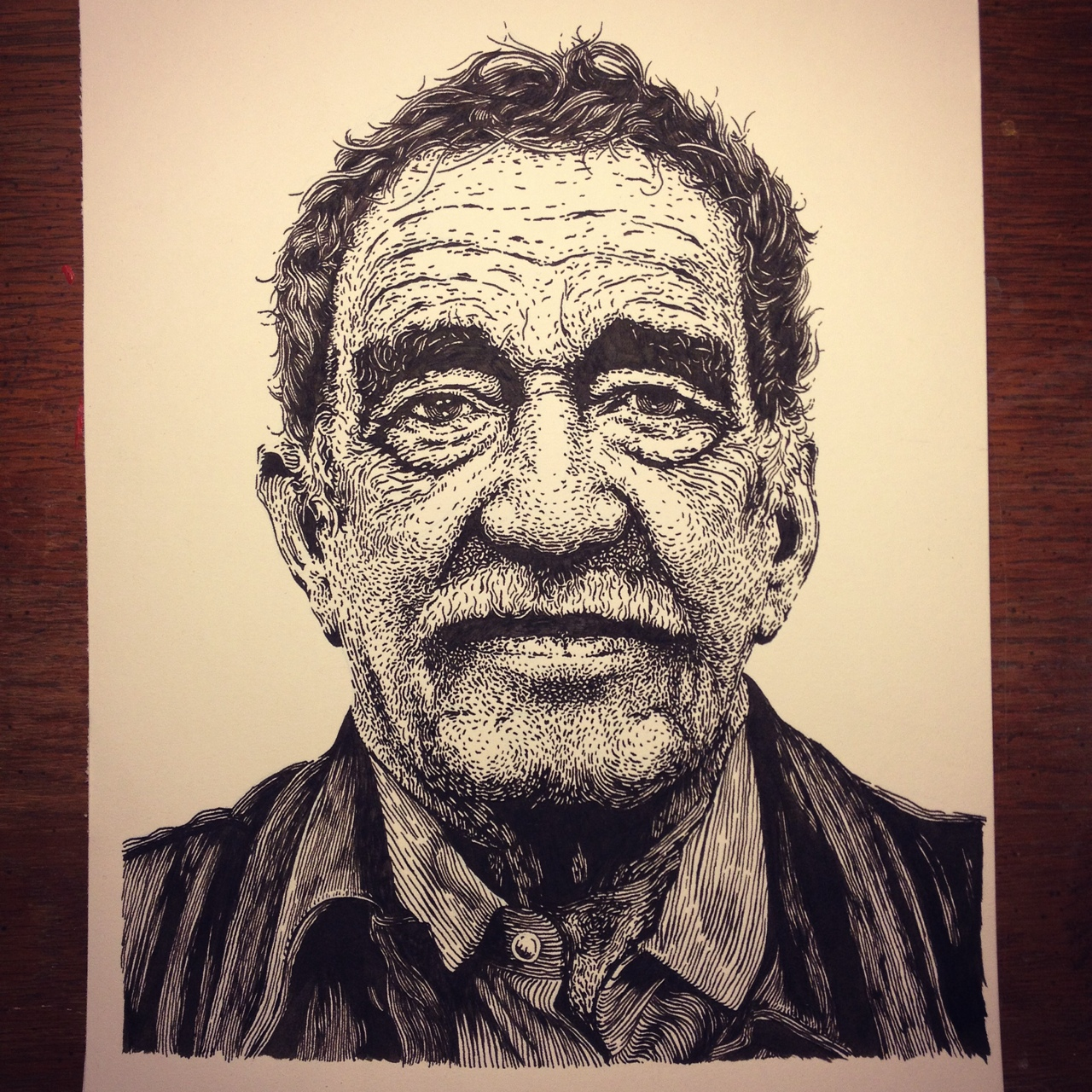 Pen and ink portrait of Gabriel Garcia Marquez. Gonna make a screen printed poster out of this. Details to come.