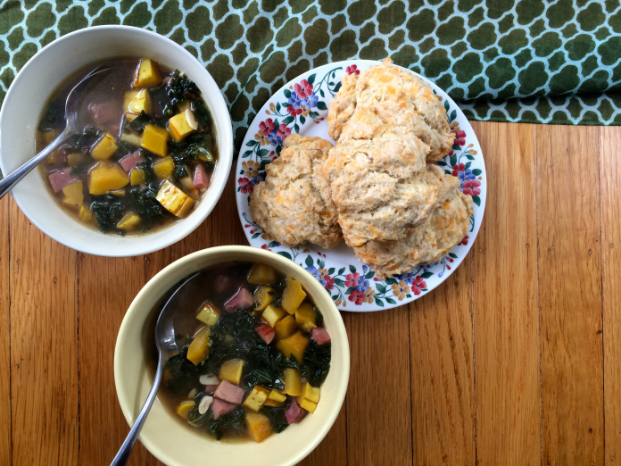 Hearty ham, squash, and greens soup