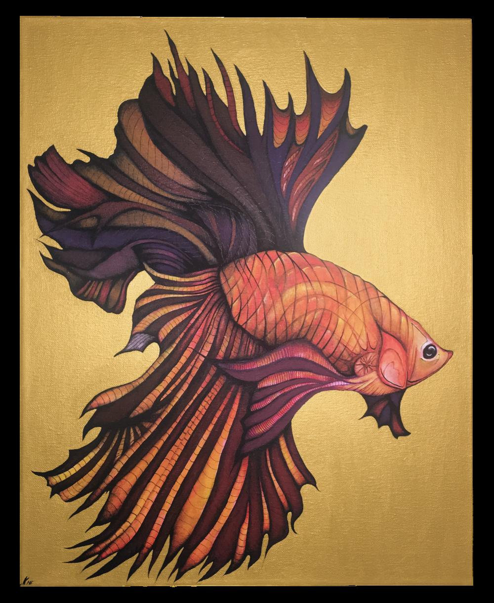 Betta Fish on Gold