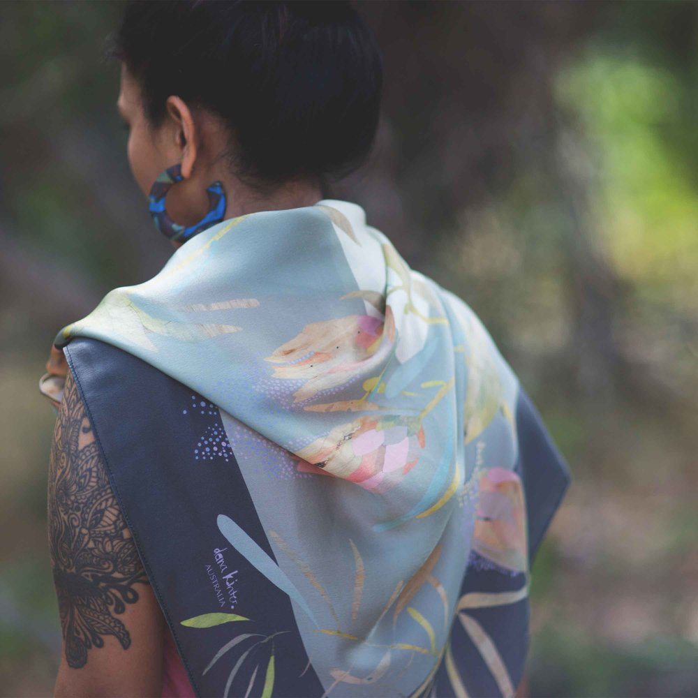 protea silk scarf // 90cm x 90cm