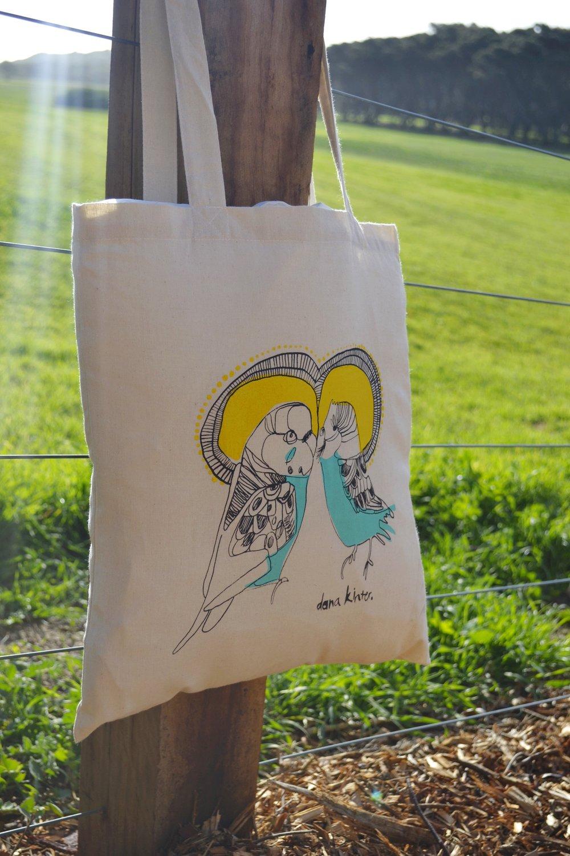 love budgie tote bag // hand screen printed // eco cotton