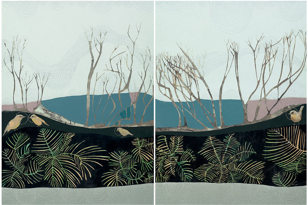 where the forest meets the ocean // pencil and acrylic on board // 2 panels 90cm x 120cm each