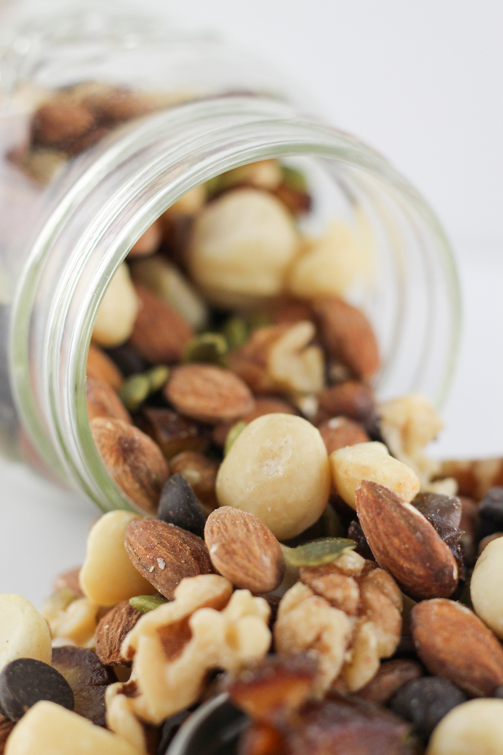 Paleo Trail mix with dates, almonds, walnuts, pumpkin seeds and dark chocolate chips
