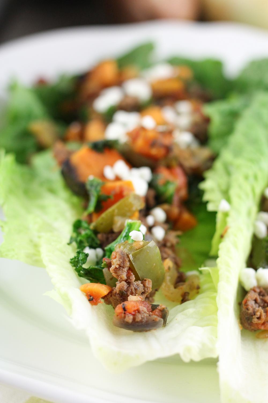 paleo lettuce wraps, sweet potato sausage wraps, grain free, gluten free, dairy free