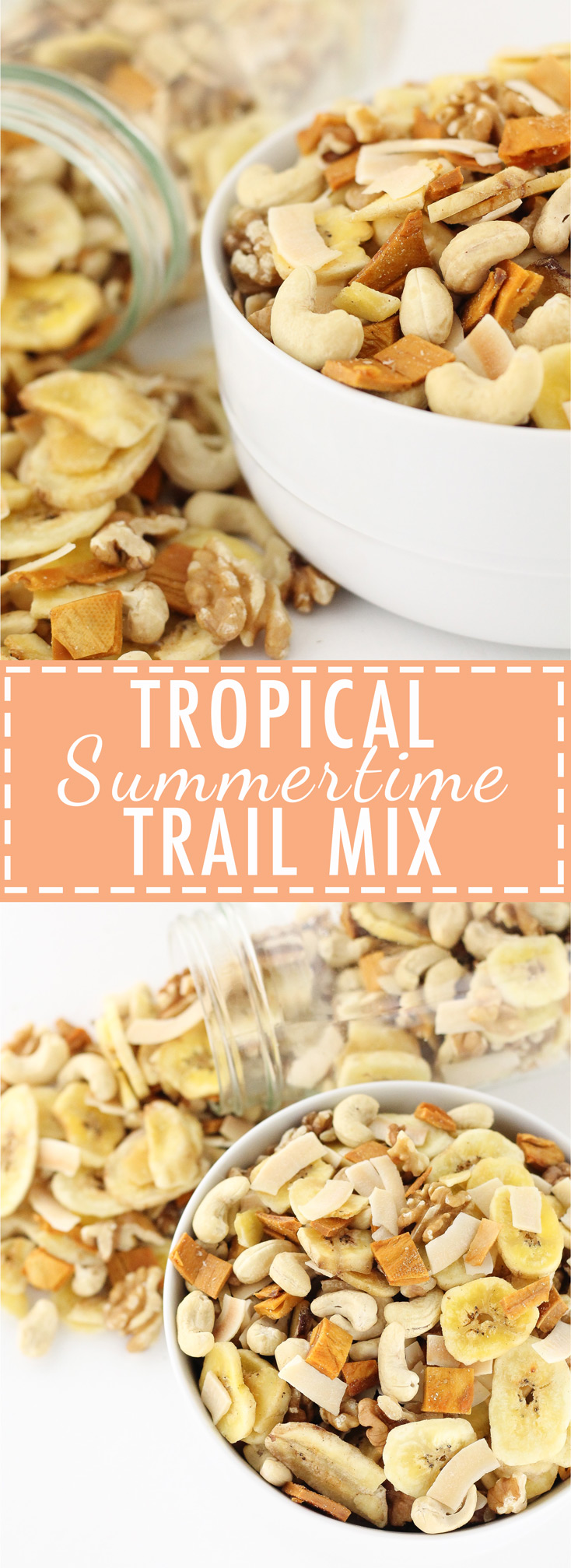 trail mix, paleo, grain free, gluten free, dairy free, easy, quick, homemade, recipe, summertime, tropical, mango, coconut