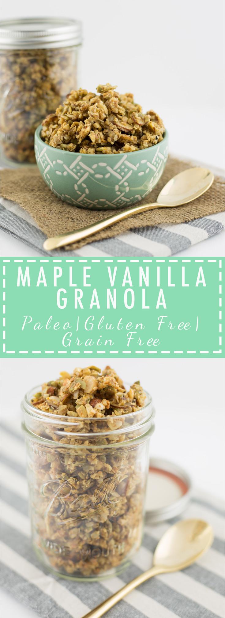 Maple vanilla granola, paleo, primal, gluten free, grain free, dairy free, homemade granola recipe, healthy foods