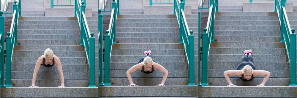 Decline push-ups, push ups, stair push-ups, stair workout, outdoor workout, short workout,