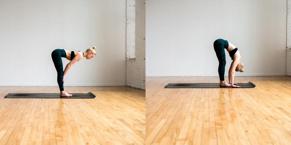 halfway lift, forward fold, yoga, yogi, lululemon, define fettle, home yoga, beginner yoga, easy yoga, yoga poses,
