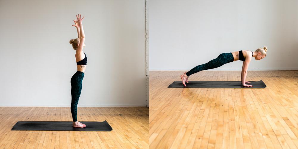 Mountain pose, high plank, yoga poses for beginners, beginner yoga, define fettle, fitness blogger,