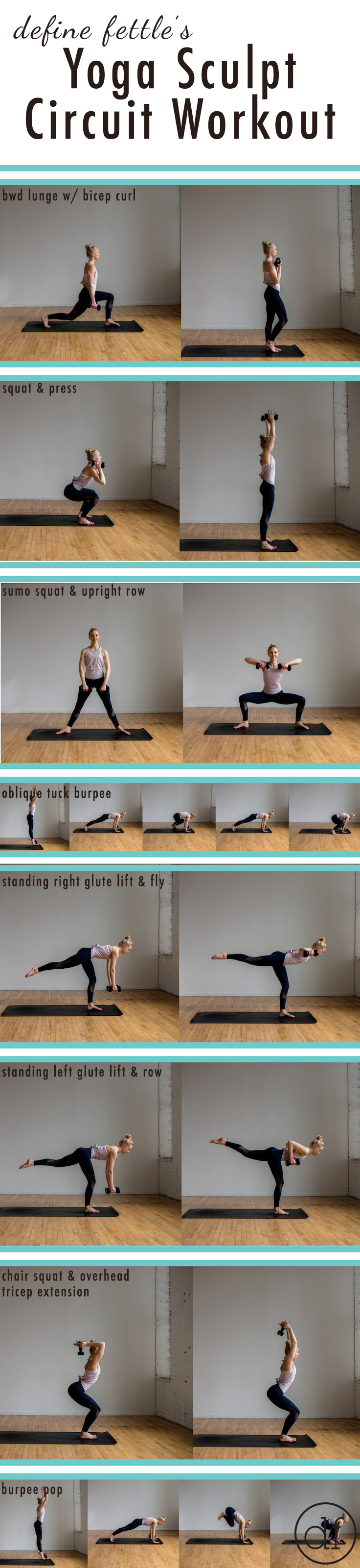 Yoga Sculpt, Yoga Sculpt Circuit Workout, Define Fettle, Fitness Blogger, Minneapolis, Fitness, Group Fitness, Burpees, Dumbbell, Home Workout, 30 Minute Workout