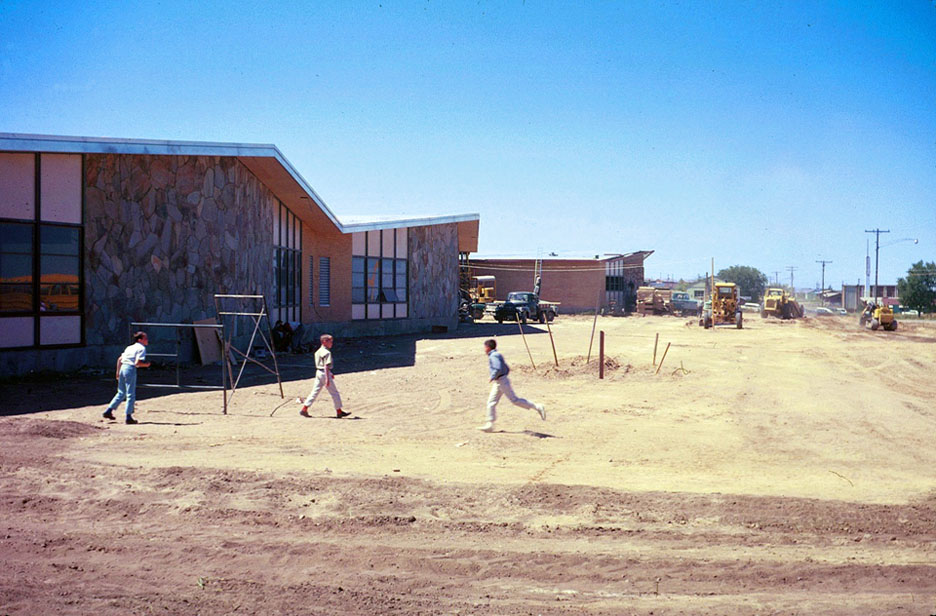 The Front of the school in 1962.  Quick Fact:  5100 South is not yet paved in 1962!