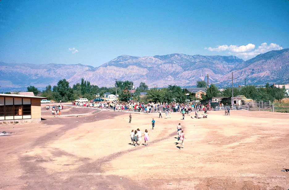 Looking North East from the South Side of the School.  Quick Fact:  T. H. Bell had recess on a parking lot.  In 1962, the 6th grade enjoyed the East parking lot for their recess area.
