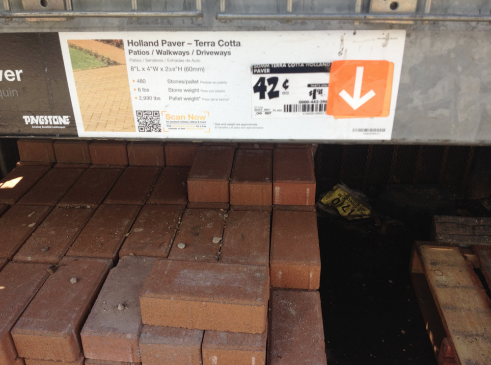 "RECOMMENDED WEIGHTS: Paver Stones from Home Depot: 6 lbs each  8"" x 4"" x 2 3/8"""